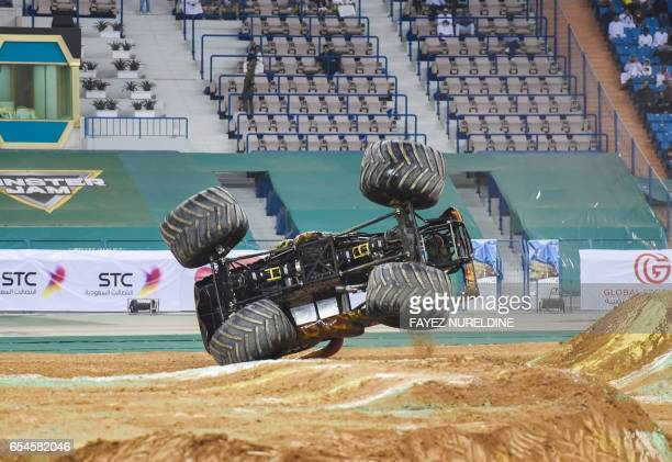 A monster truck performs during the Monster Jam show at the King Fahad stadium in the Saudi capital Riyadh on March 17 2017 Monster Jam the USbased...