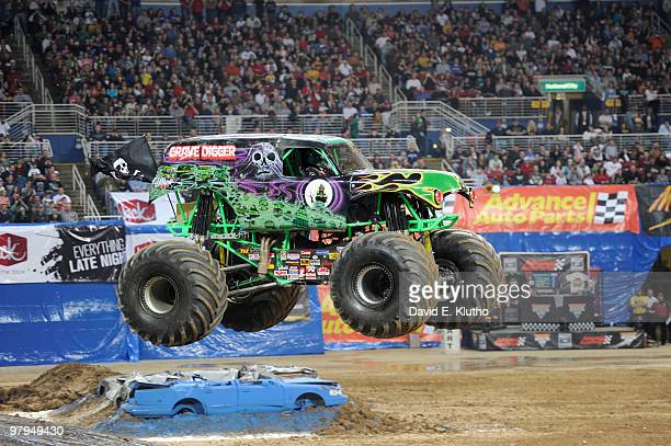 Monster Jam Grave Digger in action at Edward Jones Dome St Louis MO 2/6/2010 CREDIT David E Klutho