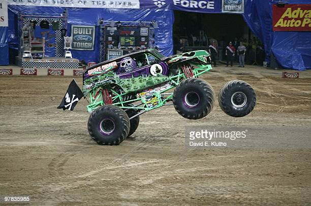 Monster Jam Grave Digger in action losing wheel at Edward Jones Dome St Louis MO 2/17/2007 CREDIT David E Klutho