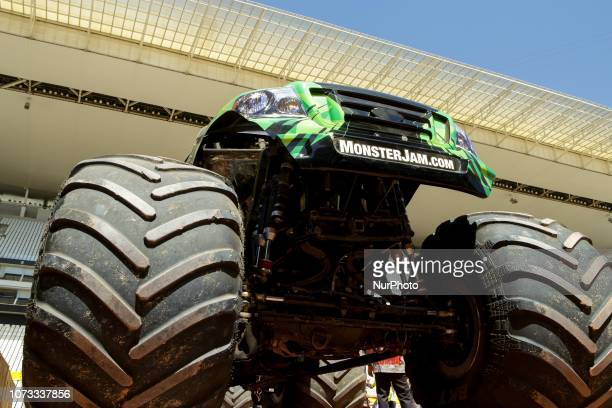 Monster Trucks part of the Monster Jam event the largest fourwheel action event in the world are shown for the press at the Corinthians Arena in...