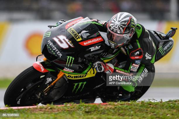 Monster Yamaha Tech 3 French rider Johann Zarco competes during the Malaysia MotoGP at the Sepang International Circuit in Sepang on October 29 2017...