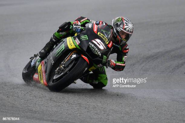 Monster Yamaha Tech 3 French rider Johann Zarco leads the pack during the start of the Malaysia MotoGP at the Sepang International circuit on October...