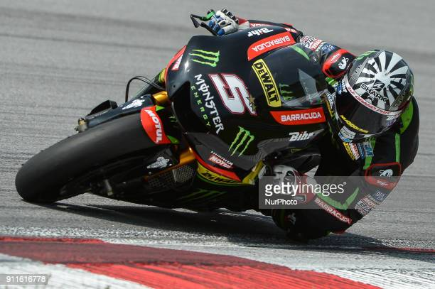 Monster Yamaha Tech 3 rider Johann Zarco of France rides his bike during the second day of the 2018 MotoGP preseason test at the Sepang International...