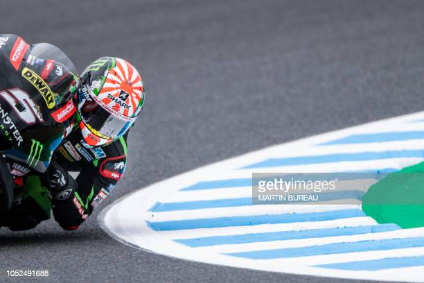 TOPSHOT Monster Yamaha Tech 3 team French rider Johann Zarco participates in the first practice session ahead of the MotoGP Japanese Grand Prix at...