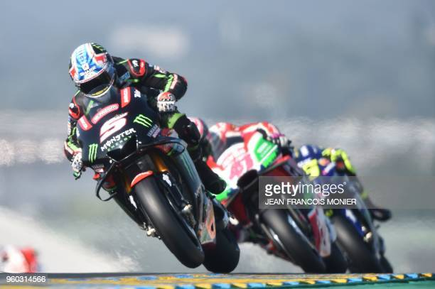 Monster Yamaha Tech 3's French rider Johann Zarco competes during the warmup ahead of the French motorcycling Grand Prix on May 20 2018 in Le Mans...