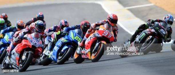 Monster Yamaha Tech 3's French rider Johann Zarco Repsol Honda Team's Spanish rider Marc Marquez and Ducati Team's Italian rider Andrea Dovizioso...