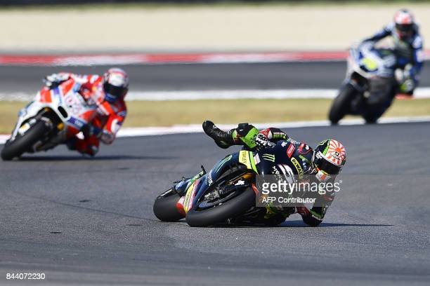 Monster Yamaha's rider Johann Zarco from France takes part in a practice session of the San Marino Moto GP Grand Prix race at the Marco Simoncelli...