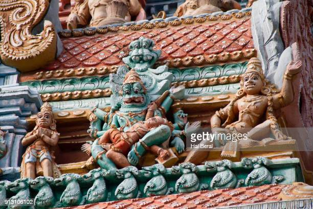 Monsters and beasts on an entry gate to the Srirangam Temple