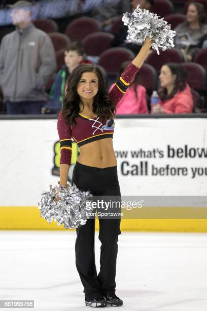 Monsters Hockey Girl on the ice following the AHL hockey game between the Charlotte Checkers and Cleveland Monsters on March 30 at Quicken Loans...