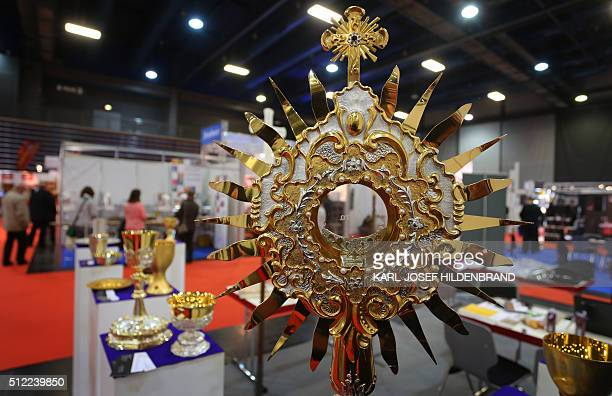 A monstrance is on display at the Gloria church fair on February 25 2016 in Augsburg southern Germany Exhibitors present their products and services...