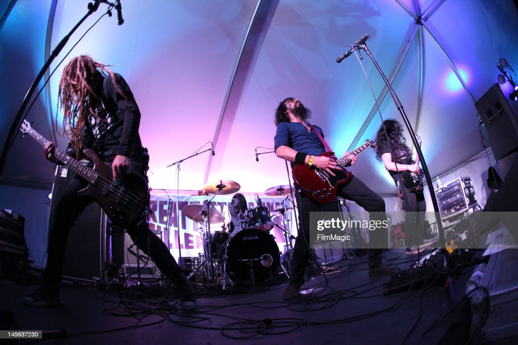 Monstro performs onstage in the Miller Lite Tent during Day 1 of Bonnaroo 2012 on June & Miller Lite Tent Stock Photos and Pictures | Getty Images