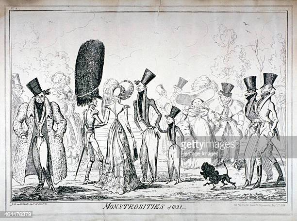'Monstrosities of 1821' 1835 A number of men and women dressed in the exaggerated fashions of the period promenading in the park Their dandyism is...