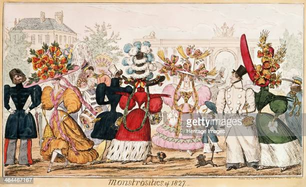 'Monstrosities of 1827' 1827 Men and women parading their ridiculous fashions to each other All of the women's hats are huge and over decorated with...