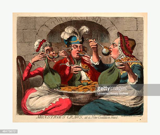 Monstrous Craws At A New Coalition Feast Cartoon Shows King George Dressed As An Old Woman The Queen And The Prince Of Wales Seated Around A Basin...