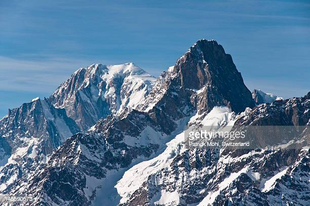 mont blanc and grandes jorasses - mont blanc massif stock photos and pictures