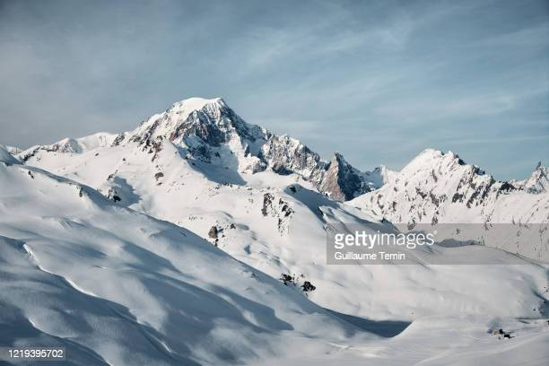 mont blanc - col du petit saint bernard in winter - france stock pictures, royalty-free photos & images