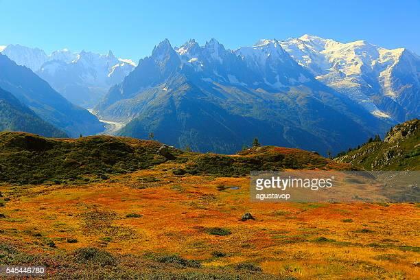 Mont Blanc idyllic alpine landscape countryside sunrise – Chamonix Alps