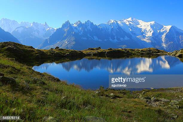 Mont Blanc, idyllic swiss lake Cheserys reflection, Chamonix, French Alps