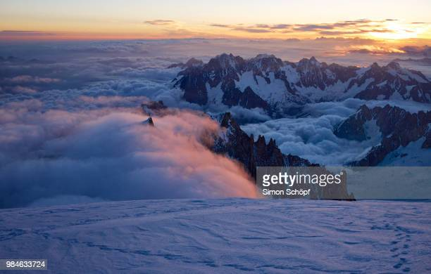 mont blanc in chamonix, france. - auvergne rhône alpes stock photos and pictures