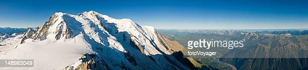 mont blanc jura alps panoramic vista - aiguille de midi stock photos and pictures