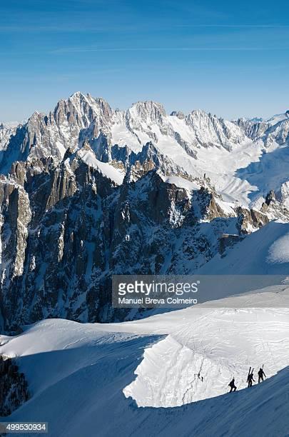 mont blanc landscape - valle blanche fotografías e imágenes de stock