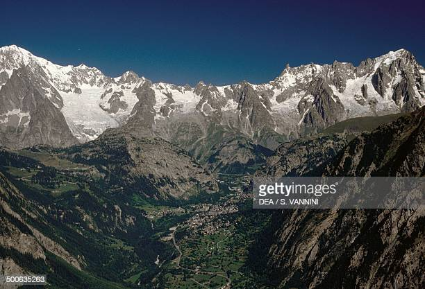 Mont Blanc massif 4810 m from Tete d'Arpy Aosta Valley Italy