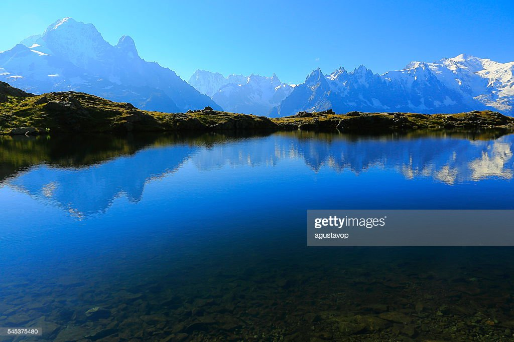 Mont Blanc Massif, idyllic lake Cheserys reflection, Chamonix, French Alps : Stock Photo