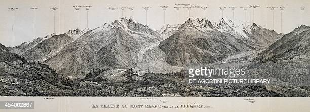 Mont Blanc massif mountain range engraving France 20th century