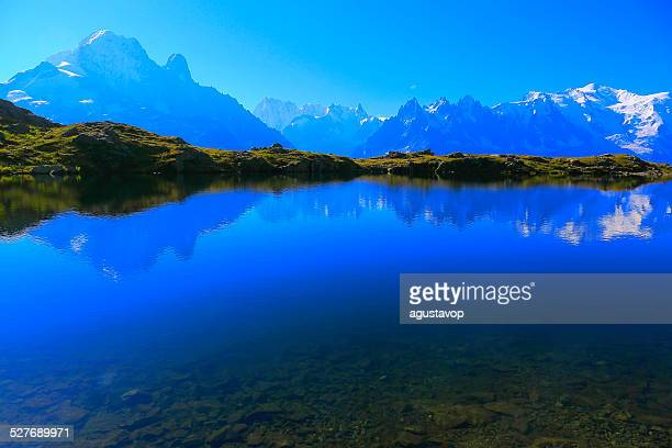 Mont Blanc Massif reflection and lake Cheserys, Chamonix, French Alps