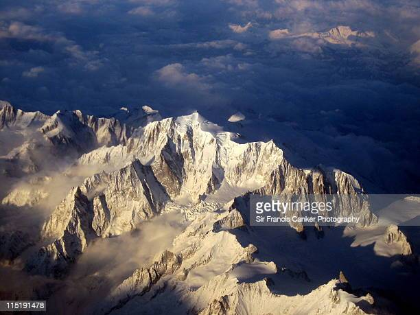mont blanc peak  of mont blanc massif - mont blanc massif stock photos and pictures