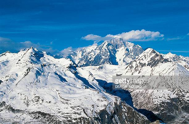Mont Blanc seen from the slopes of Belvedere La Thuile Valle d'Aosta Italy