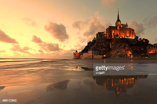 Mont Saint Michel Reflections at Sunset
