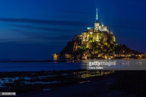 Mont Saint-Michel at night, France
