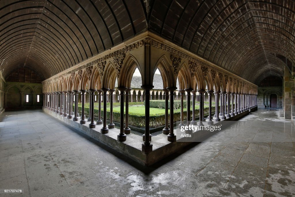 Mont Saint-Michel, The cloister of the abbey. : News Photo
