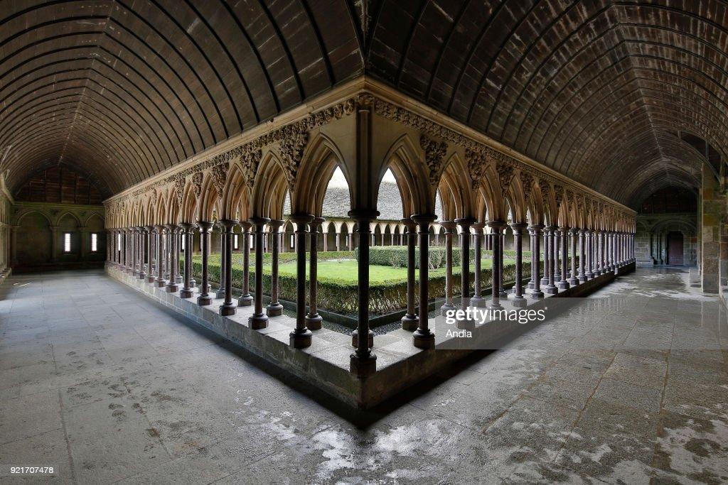 Mont Saint-Michel (Saint Michael's Mount), Normandy, north-western France: cloister of the abbey.