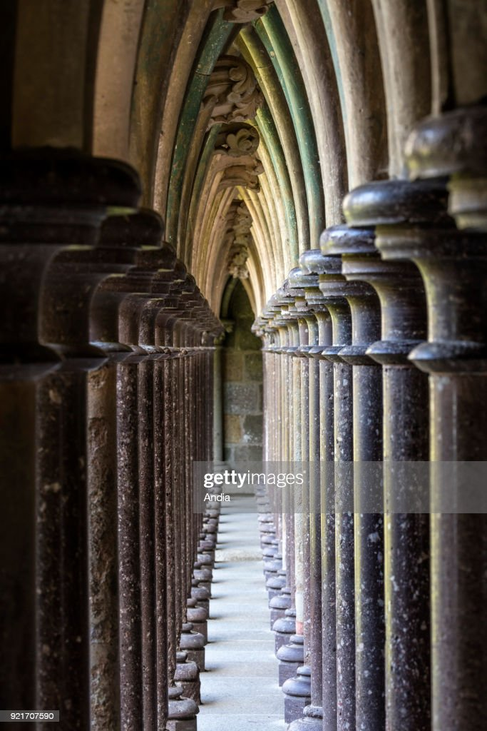 Mont Saint-Michel, the cloister. : News Photo