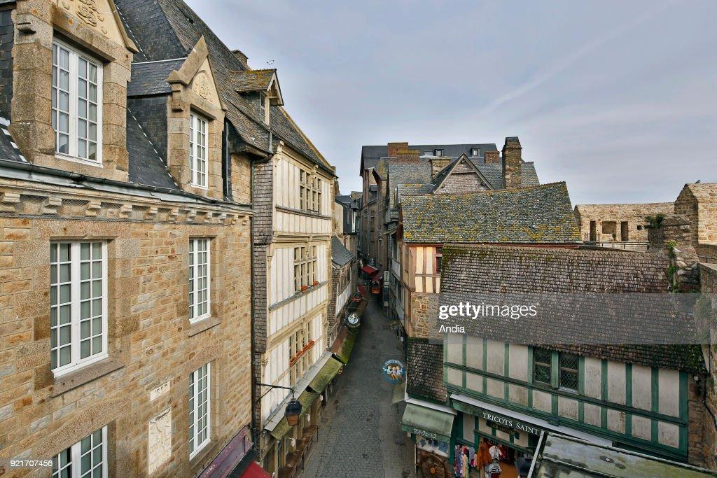Mont Saint-Michel, 'Grande rue' main street. : News Photo