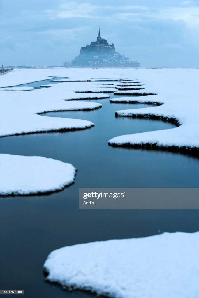 Mont Saint-Michel, the mount in winter. : News Photo