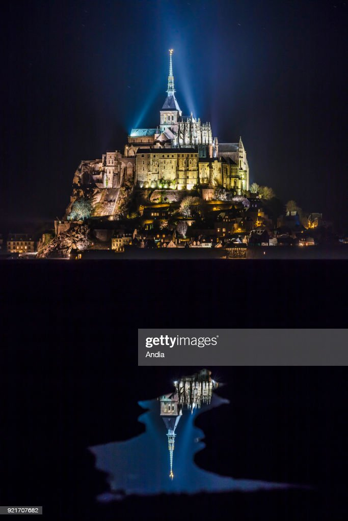 Mont Saint-Michel (Saint Michael's Mount), Normandy, north-western France: the mount lit up at night.