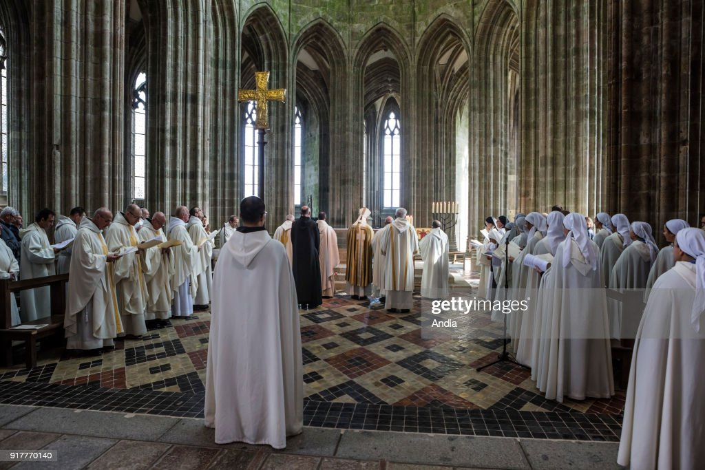 Mont Saint-Michel (Saint Michael's Mount), on : revels for the 1050th anniversary of the monastic presence on Mont Saint-Michel. It was in 966 that the first Benedictine monks arrived there; Closing ceremony: mass.