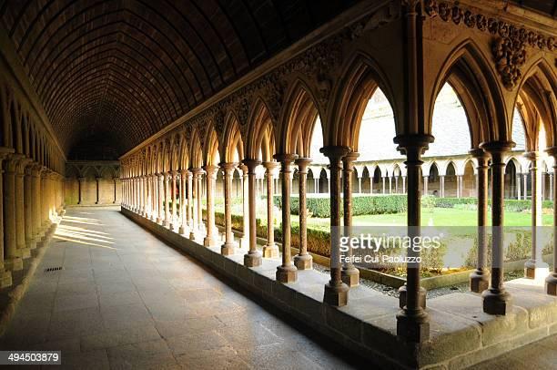 Mont St Michel Cloister Garden of Mont Saint Michel Abbey of Mont Saint-Michel, Normandy region, France
