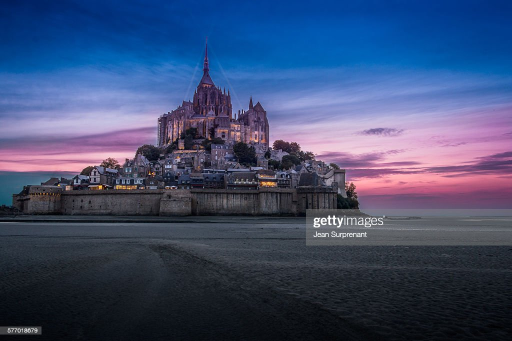 Mont St-Michel at Night : Stock Photo
