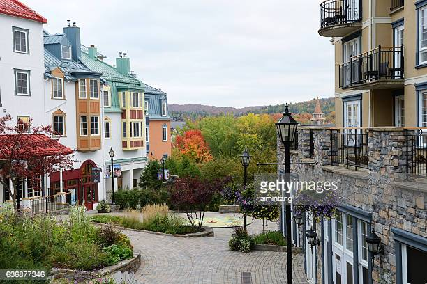 mont tremblant resort village in canada - mont tremblant stock pictures, royalty-free photos & images