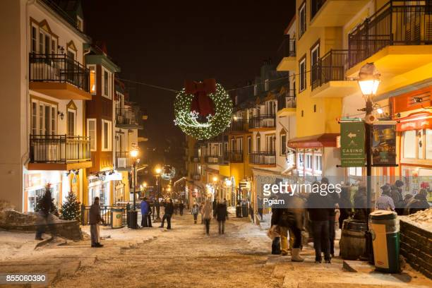 mont tremblant ski resort village street in quebec canada - mont tremblant stock pictures, royalty-free photos & images