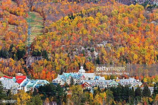 mont tremblant village in autumn - mont tremblant stock pictures, royalty-free photos & images