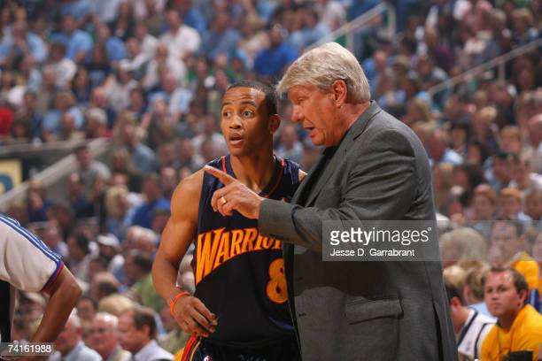 Monta Ellis and Don Nelson of the Golden State Warriors talk against the Utah Jazz in Game Five of the Western Conference Semifinals during the 2007...