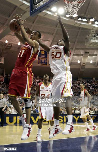Monta Ellis of Jackson, MS and Tasmin Mitchell of Denham Springs, LAplays in the McDonalds All American High School Basketball game at the Joyce...