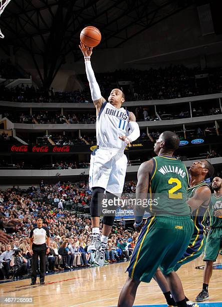 Monta Ellis of the Dallas Mavericks shoots against the Utah Jazz on February 7 2014 at the American Airlines Center in Dallas Texas NOTE TO USER User...