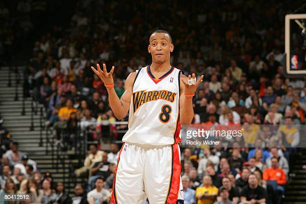 Monta Ellis of the Golden State Warriors gets the crowd going during the game against the Portland Trail Blazers at Oracle Arena March 27 2008 in...