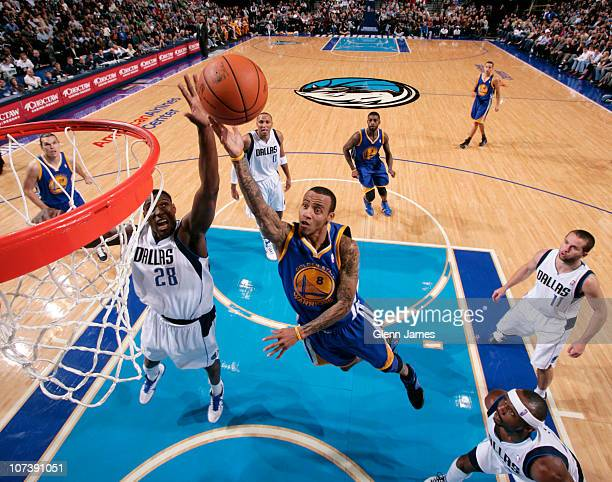 Monta Ellis of the Golden State Warriors goes in for the layup against Ian Mahinmi of the Dallas Mavericks during a game on December 7 2010 at the...